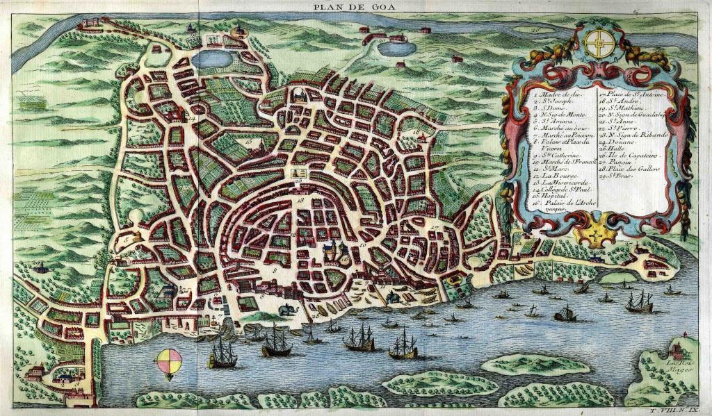 Goa map Stadtplan 1750