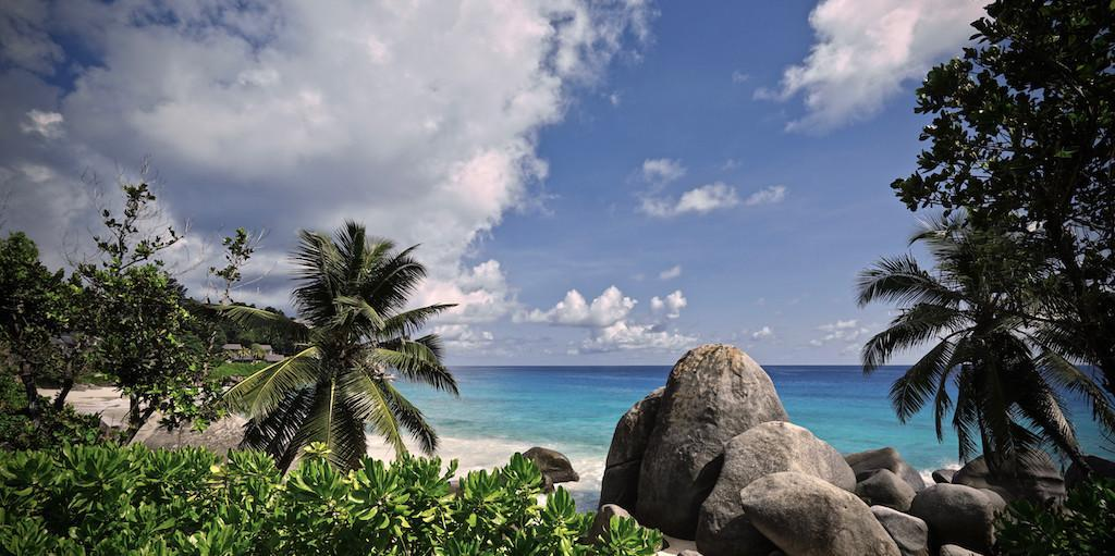 Beach scenery in Northern Mahé, Seychelles