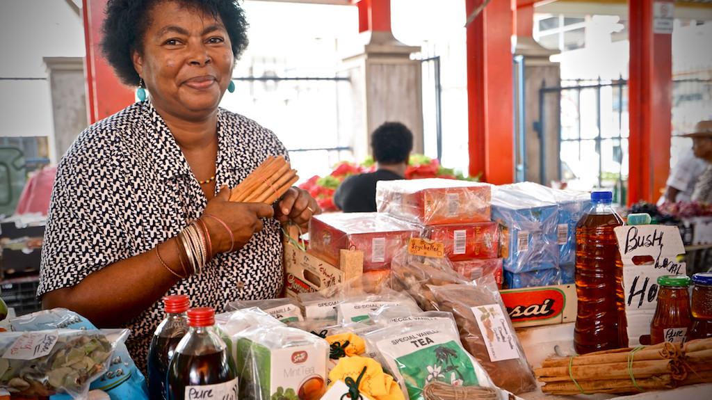 Spice vendor in Victoria, Seychelles