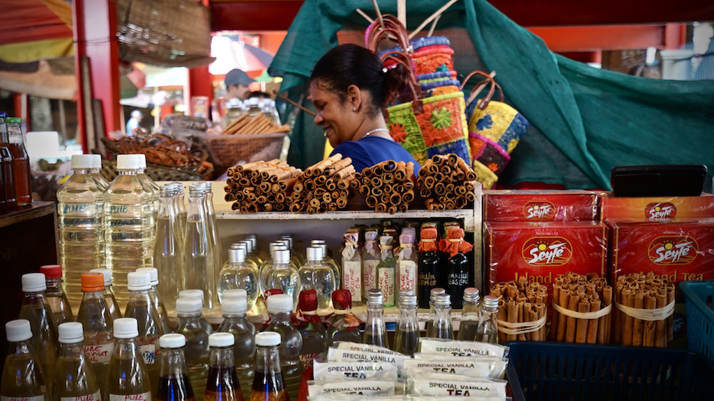 Market stand with spices, Victoria, Seychelles