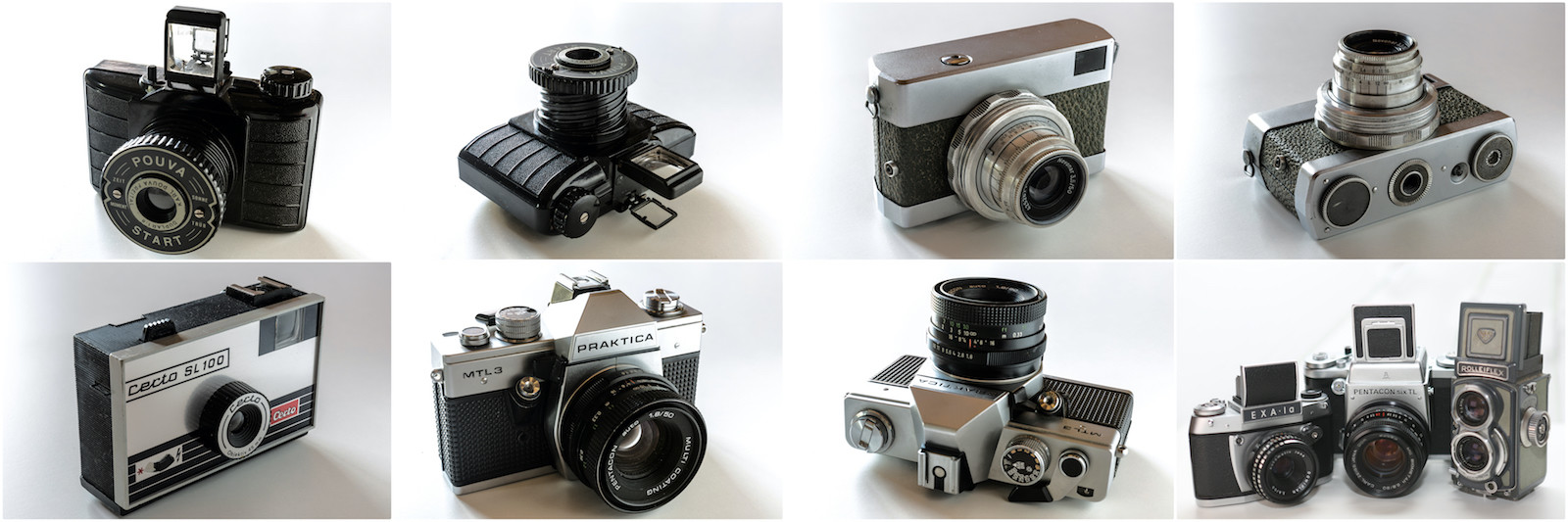 Meine analogen Kameramodelle: Pouva Start, Werra II, Certo SL100, Praktica MTL3, Exa Ia und Pentacon Six. Die Rolleiflex ist Deko.