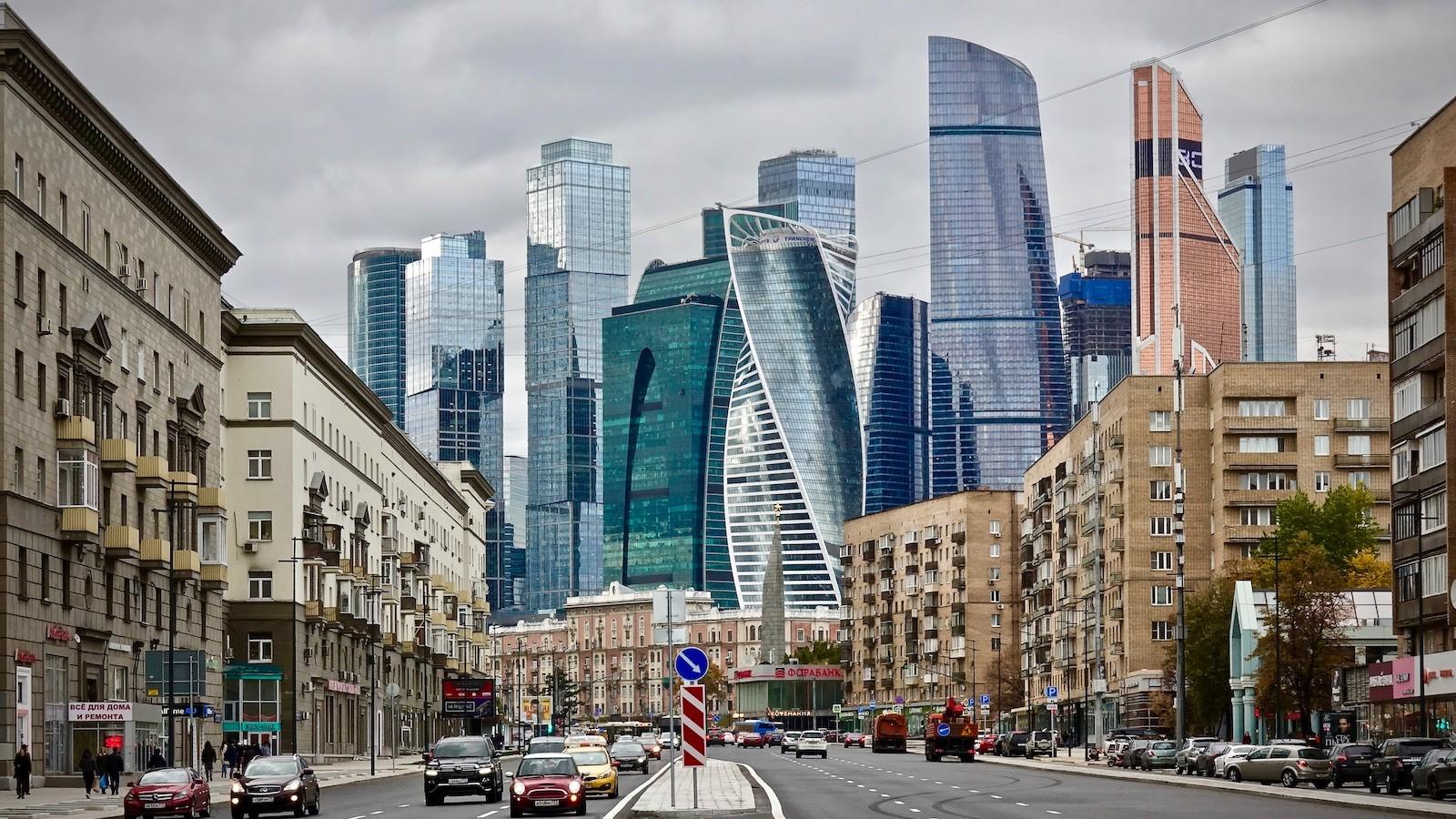 Moskau City Skyline von Bolschaja Dorogomilewskaja