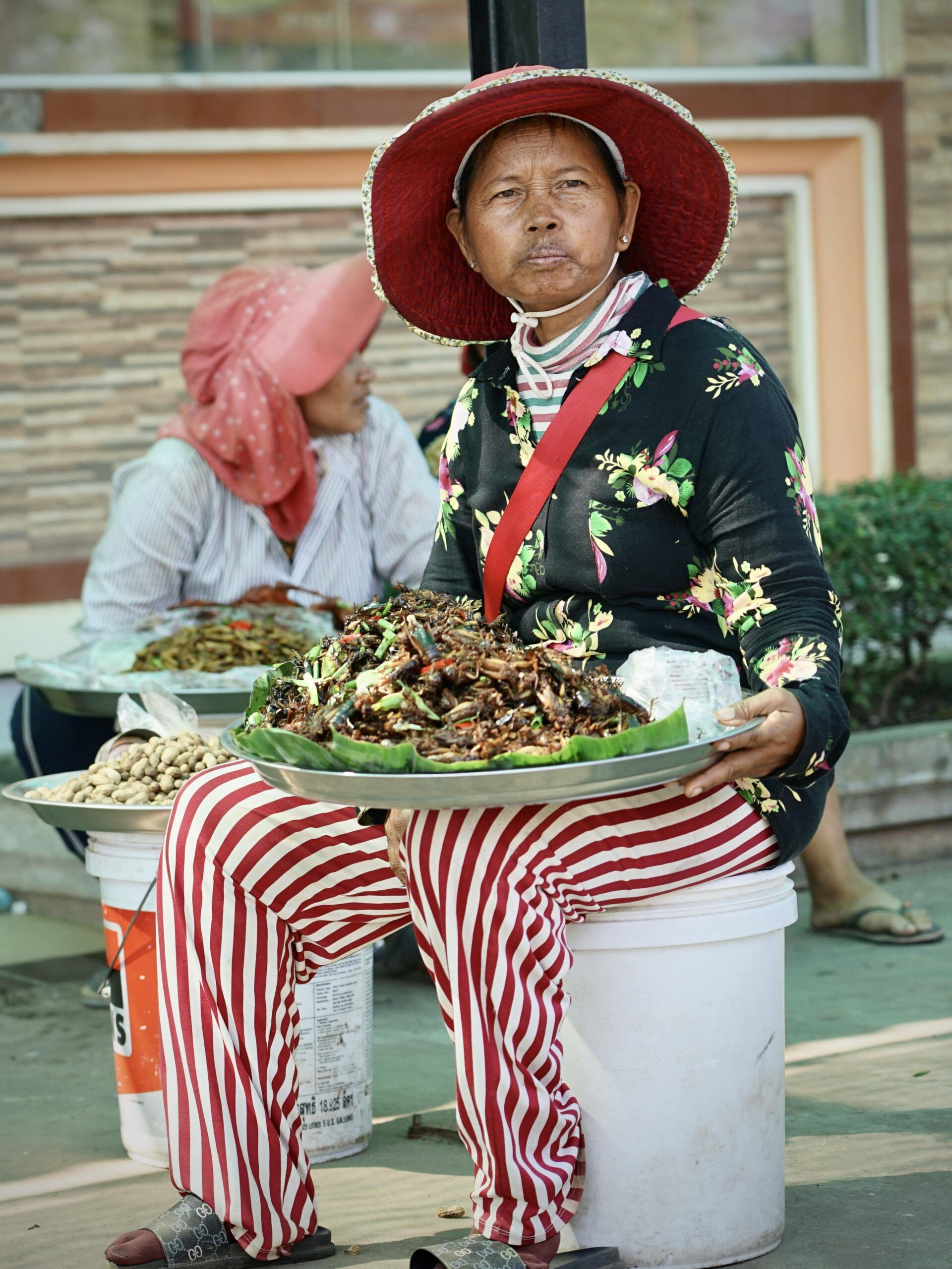 Auffällig gestylte Marktfrau bietet frittierte Insekten feil.