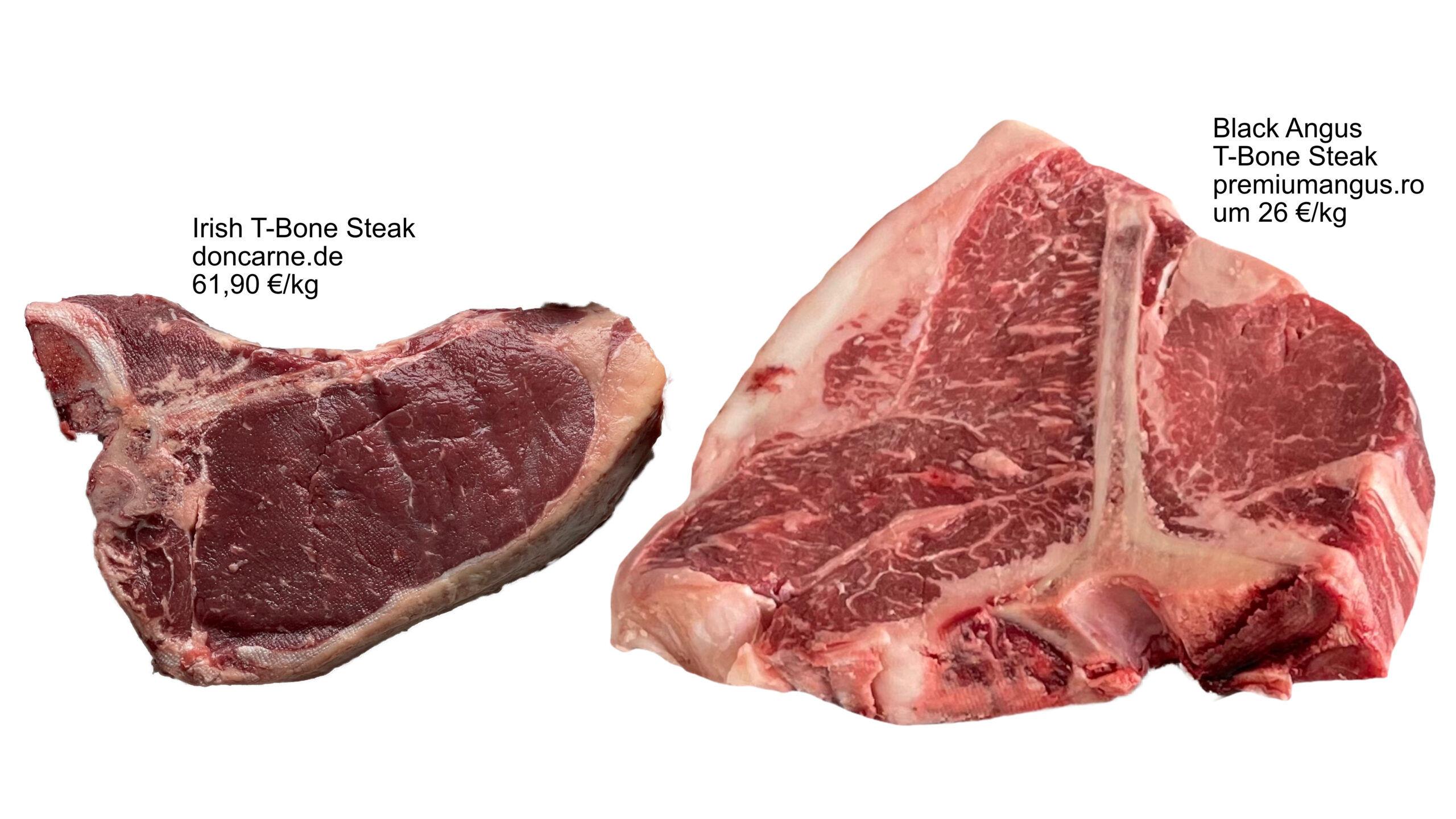 T-Bone Steaks doncarne.de vs. premiumangus.ro