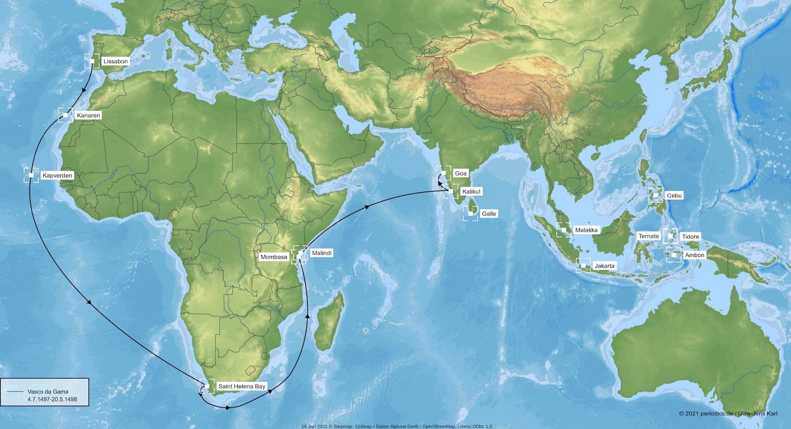 Geschichte des Gewürzhandels Vasco da Gama Seeweg nach Indien