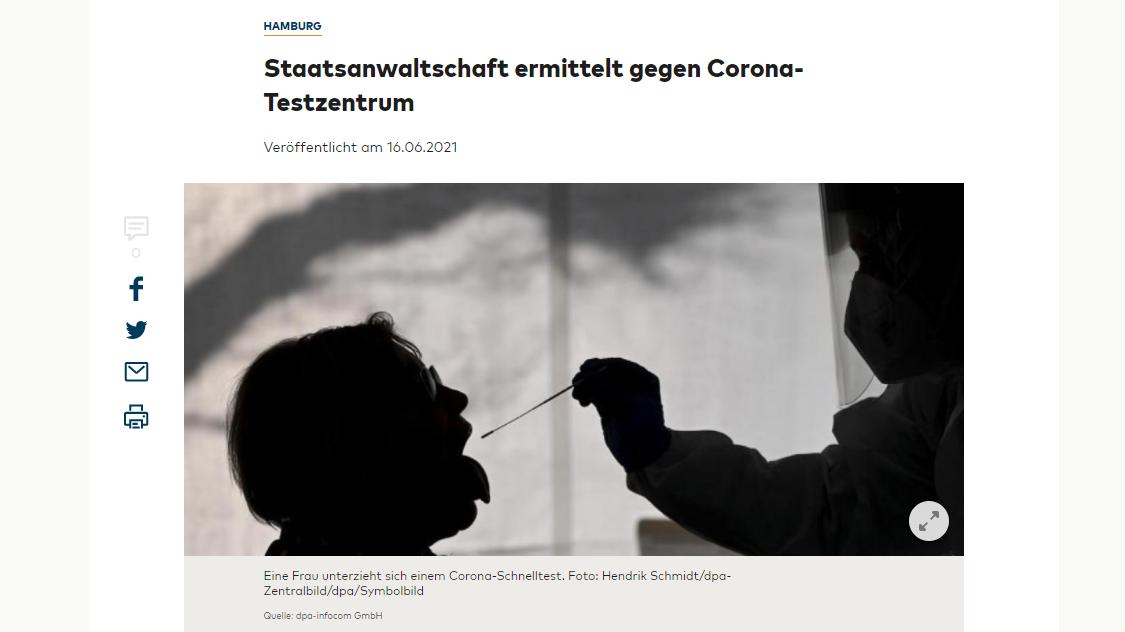 Corona Covid-19 Test Testzentrum Quelle: welt.de