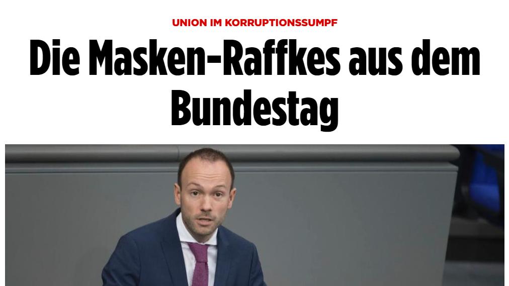 CDU Masken Affäre Korruption Quelle: bild.de
