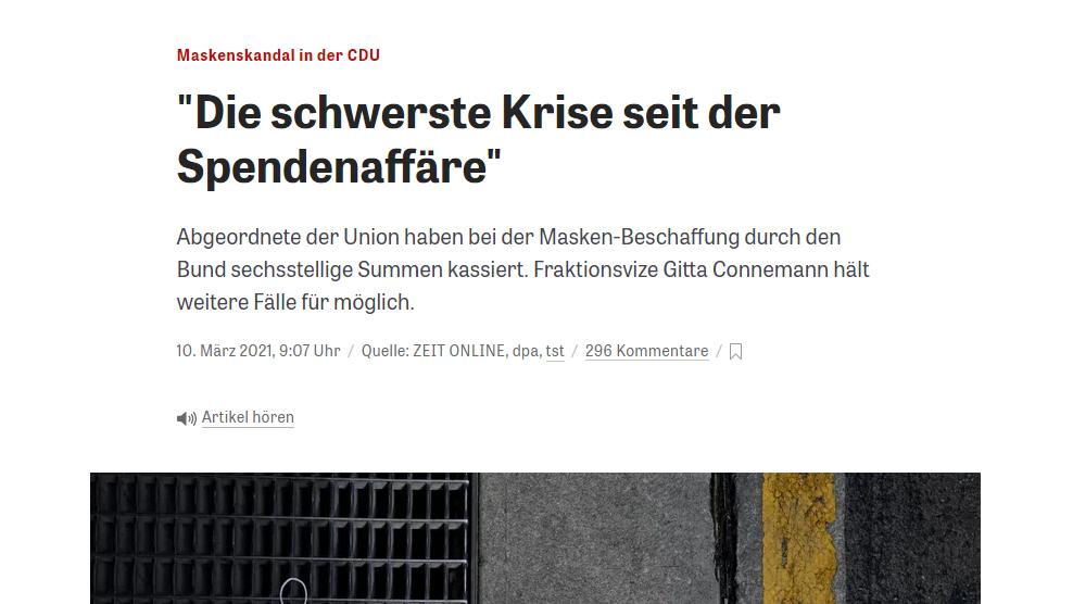 CDU Masken Affäre Korruption Quelle: zeit.de