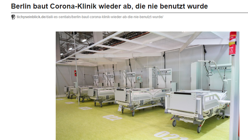 Corona Klinik Berlin unbenutzt abgebaut Quelle: tichyseinblick.de